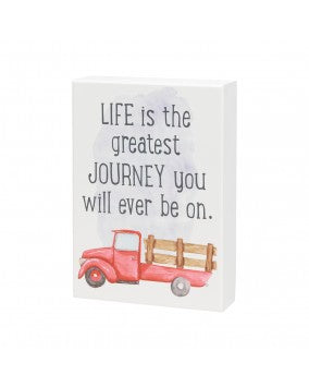 Life's Journey Red Stake Truck Box Sign