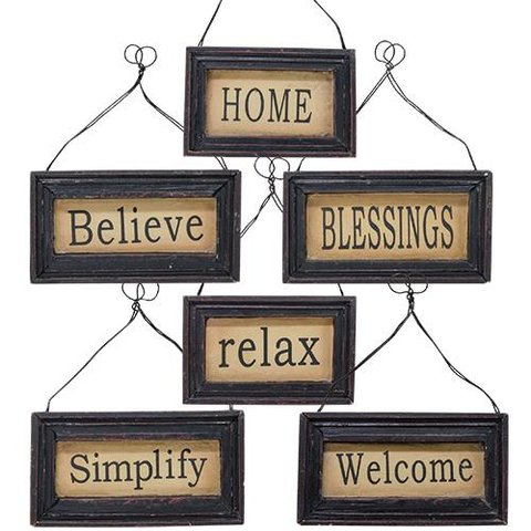 Black Framed Everyday Small Ornaments - set of 6