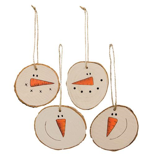 Snowman Face Bark Ornaments