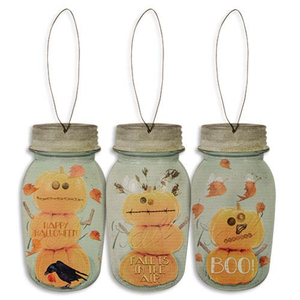 Mason Jar Pumpkin Ornaments - set of 3