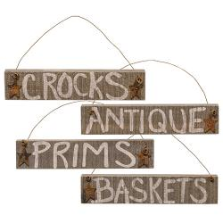 Rustic Hanging Barnwood Signs - set of 4