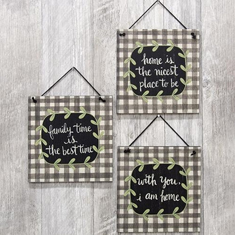 Family Time Wood Hanging Signs