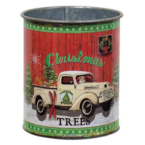 Christmas Trees Galvanized Can