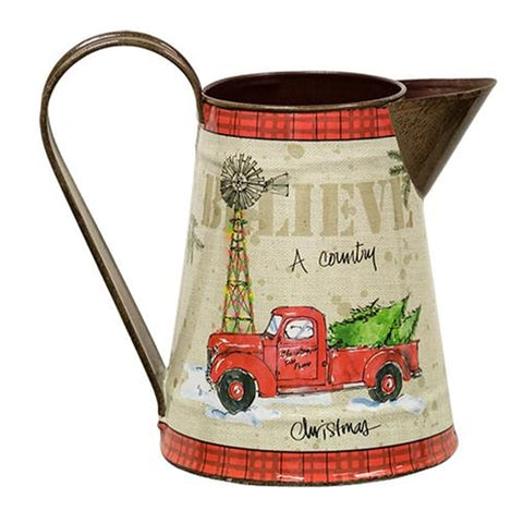 Red Truck Country Christmas Pitcher