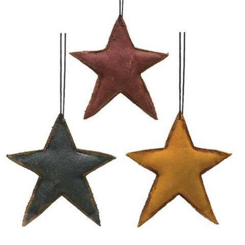 Fabric Star Ornaments - Set of 3