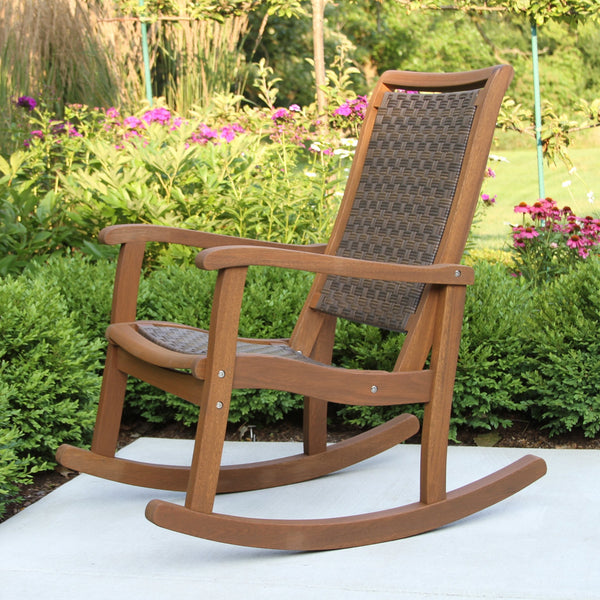 Brown Wicker and Eucalyptus Rocking Chair
