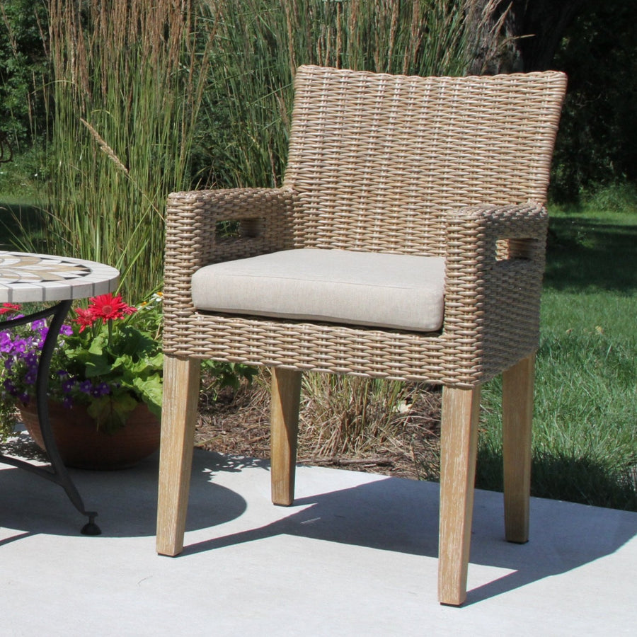 Wheat Wicker & Eucalyptus Wash Arm Chair with Handles