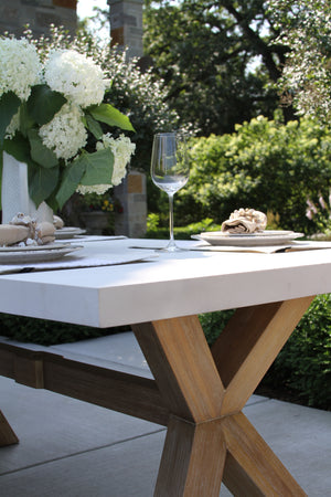 Ivory Composite & Eucalyptus Wash Dining Table