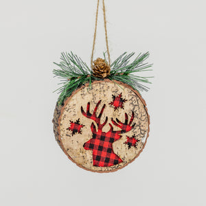 Plaid Reindeer Log Ornament