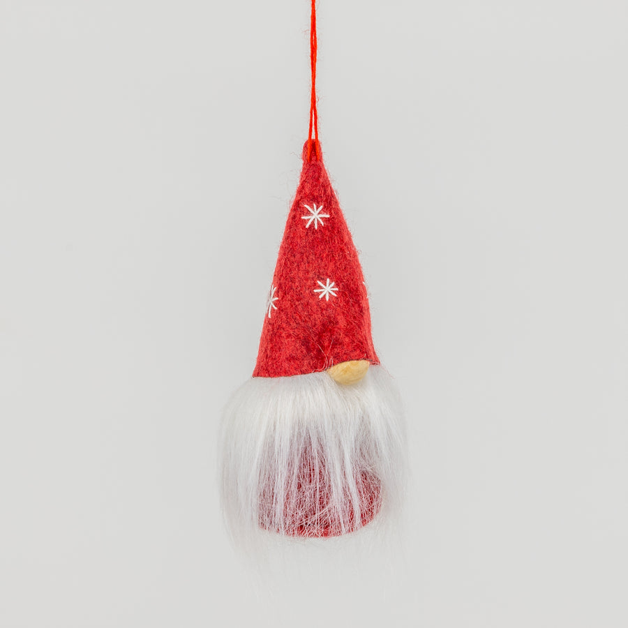 Mini Red Gnome with Snowflakes Ornament