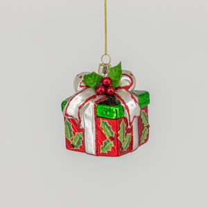 Glass Present Ornament