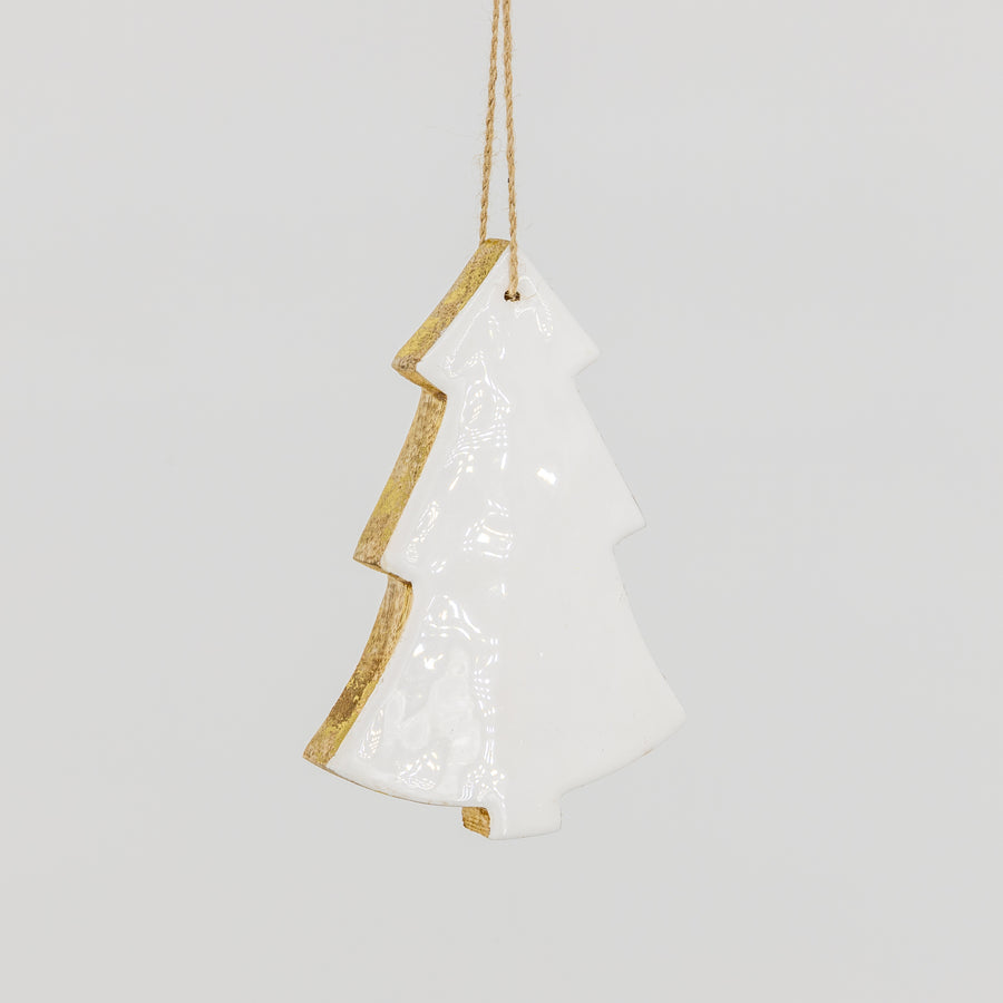White Wooden Christmas Tree Ornament