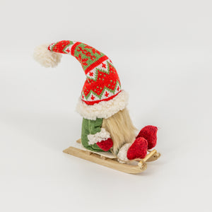 Green Gnome on Sled
