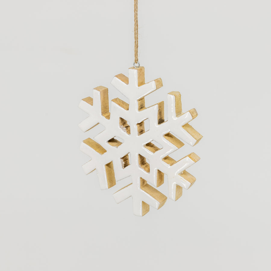 White Wooden Snowflake