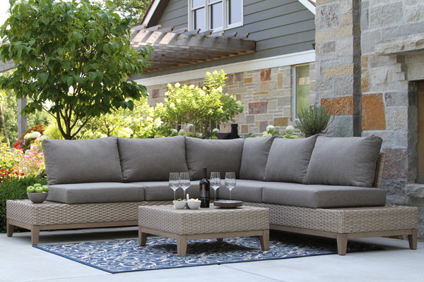 4-Piece Contemporary Antique Stain Eucalyptus & Latte Wicker Sectional Set