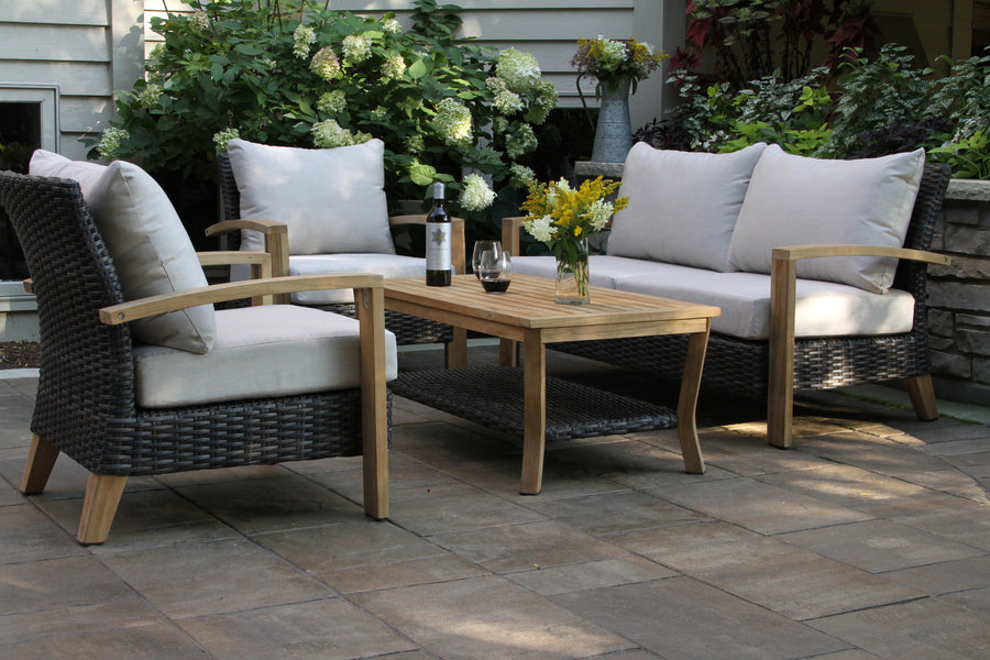 4-Piece Teak & Brown/Slate Wicker Seating Group