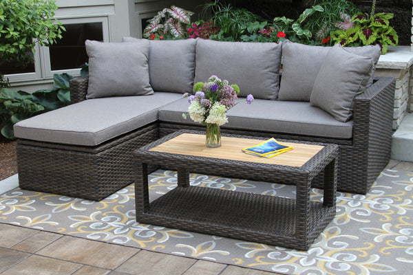 3-Piece Teak and Wicker Sofa Set with Olefin Cushions and Pillows