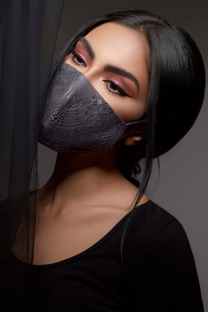 GREY LACE COTTON ANTI-DUST FACE MASK.
