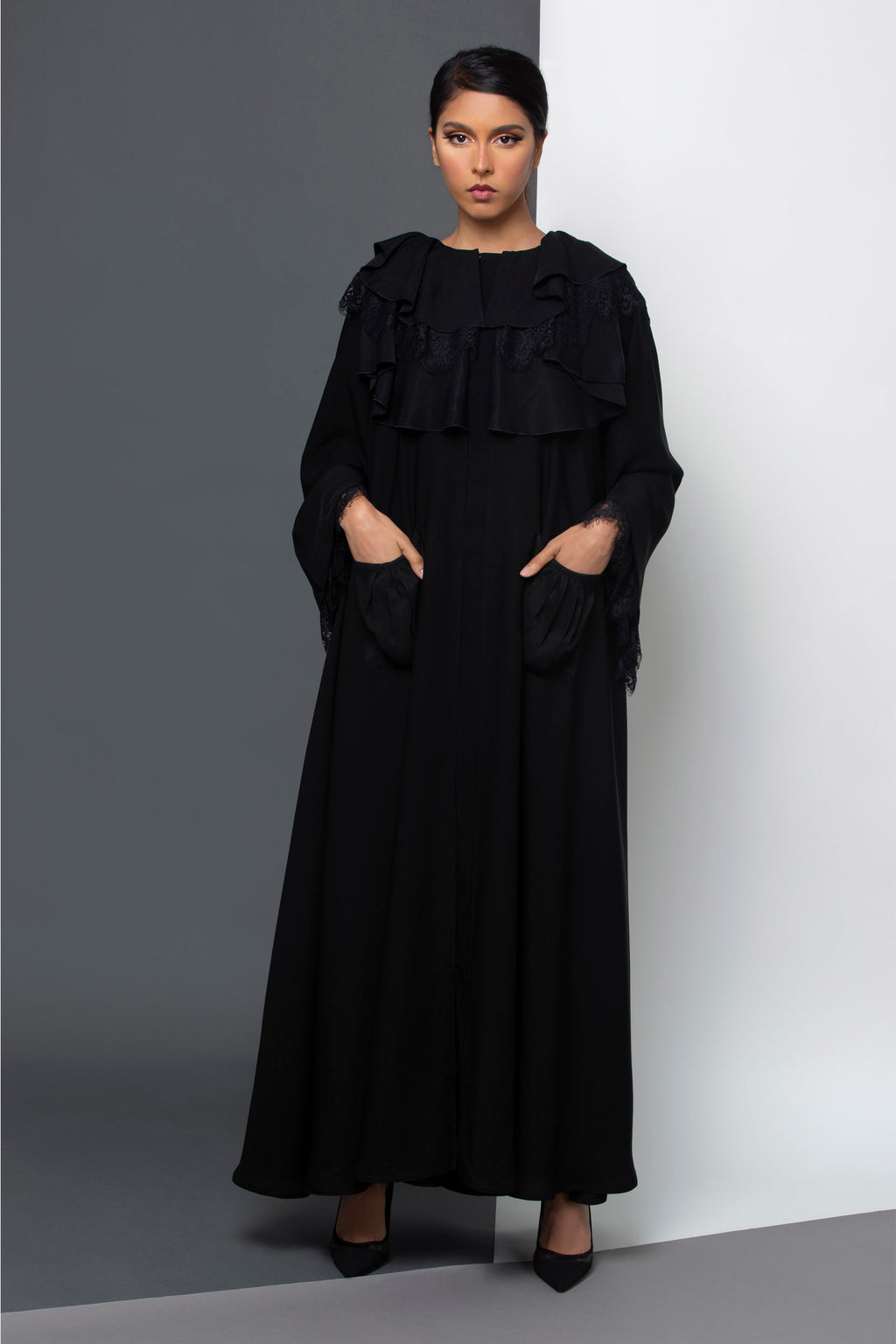 BLACK RUFFLE FRENCH LACE SALOAN ABAYA.