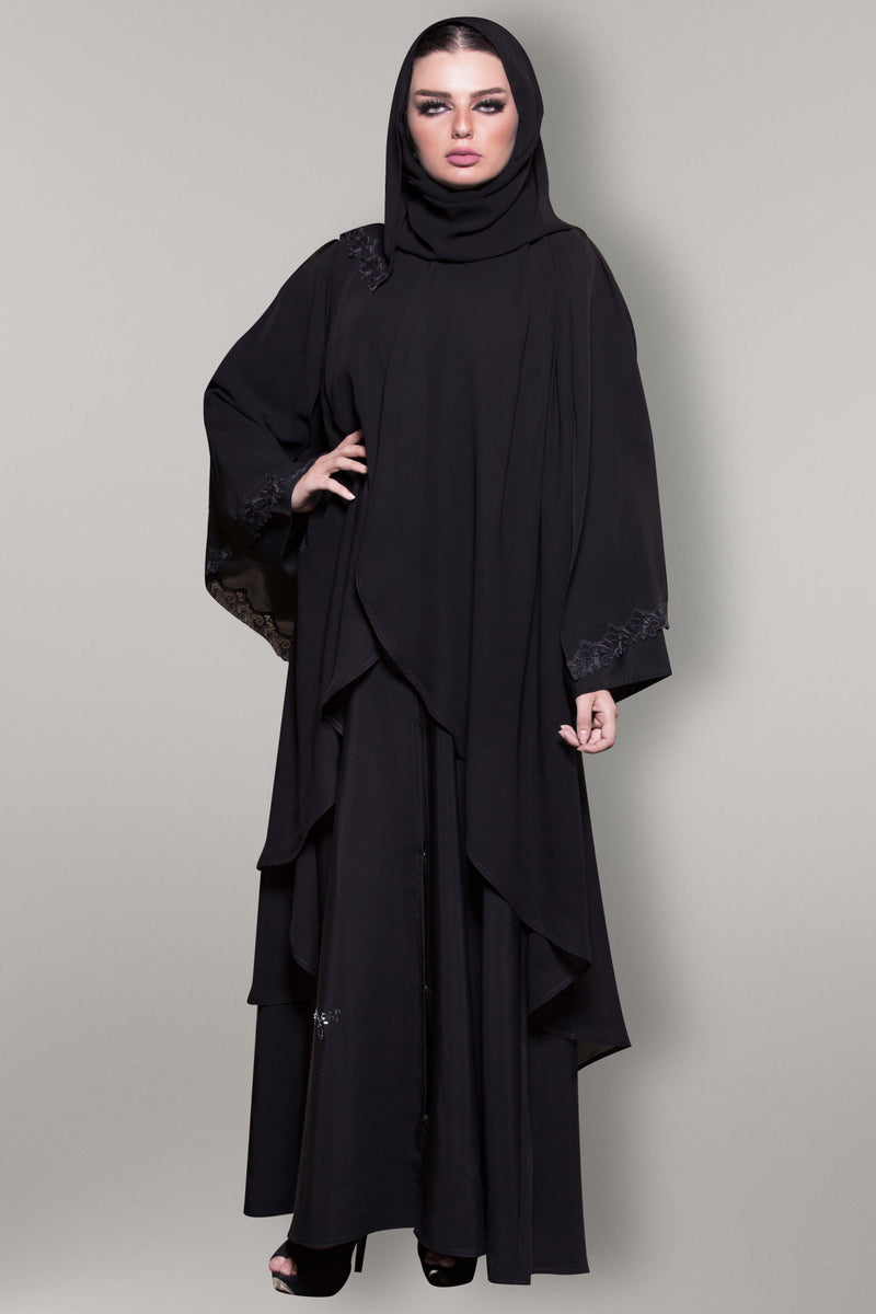 BLACK FRENCH LACE EMBROIDERED SLEEVES SOALON ABAYA