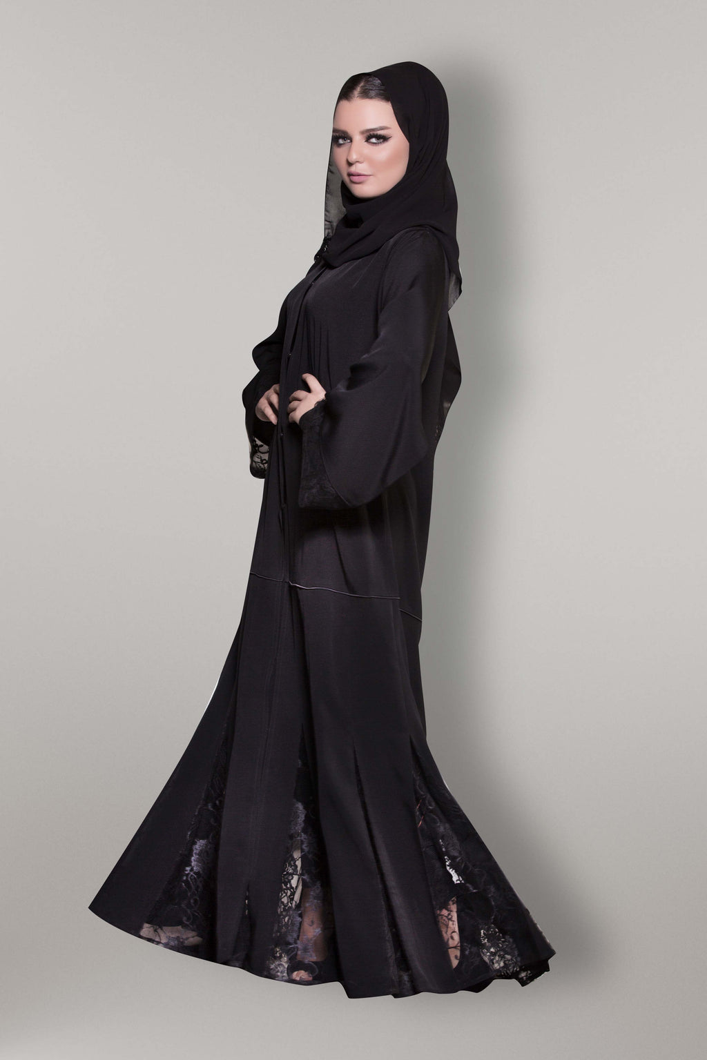 BLACK FRENCH LACE EMROIDERED PLEATED BASE SOALAN ABAYA