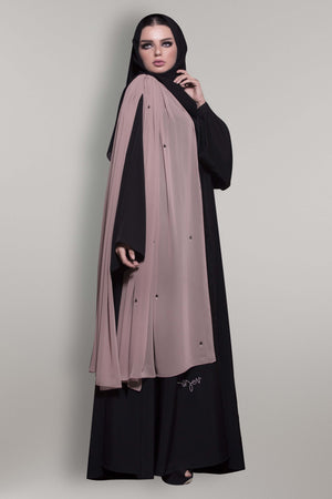 HAZELNUT STOLE CRYSTALIZED CREPE DOUBLE ABAYA