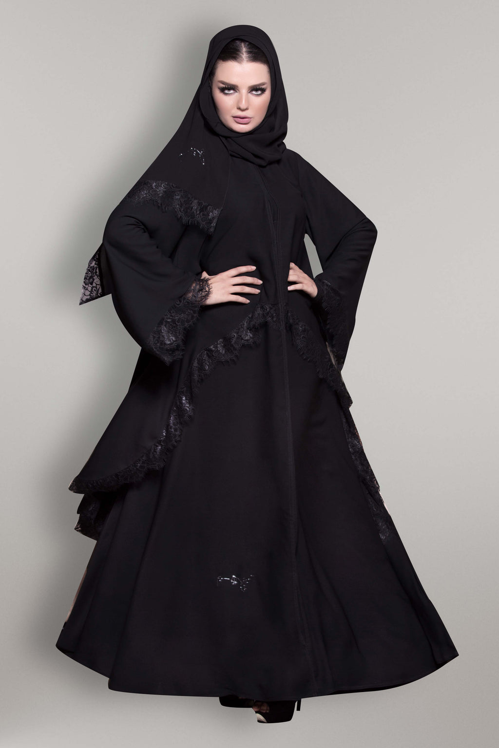 BLACK SYMETRICAL FRENCH LACE ABAYA
