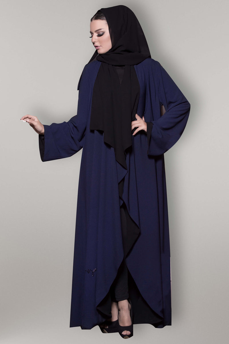 NAVY BLUE BROAD COLLAR CREPE OPEN ABAYA