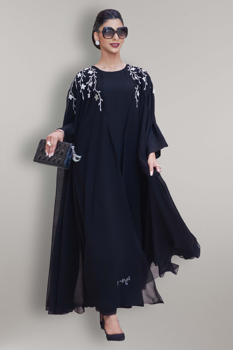 BLACK FLORAL HAND EMBROIDERED OPEN ABAYA.