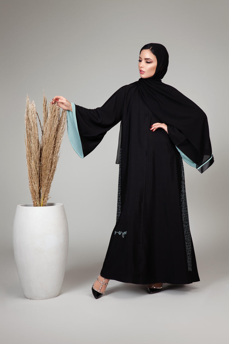 BLACK OCEAN BLUE AZTEC LEATHER CLOCHE ABAYA.