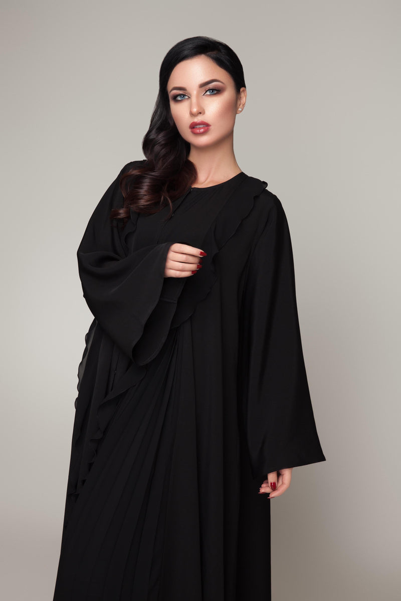 BLACK PLAIN RUFFLE PLEATED SOALON ABAYA.