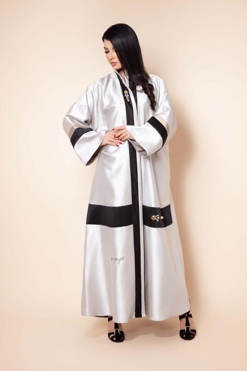 ROSE QUARTZ  CRYSTALIZED BROCH FRENCH JACQUARD ABAYA