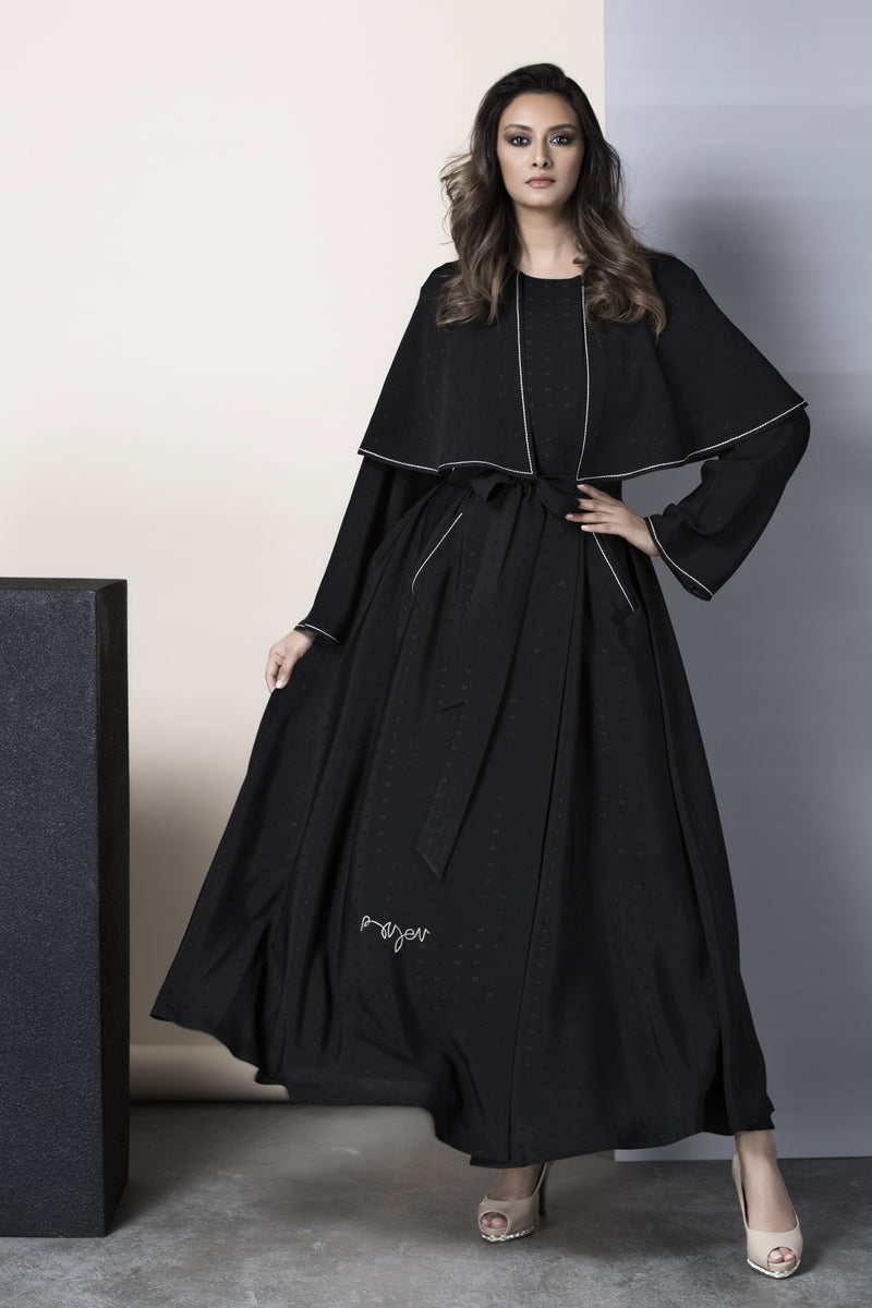 BLACK FRONT PANEL SOALON ABAYA.
