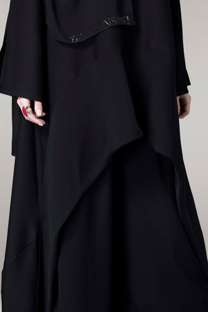 BLACK TROUSER TEXTURED SOALON ABAYA.