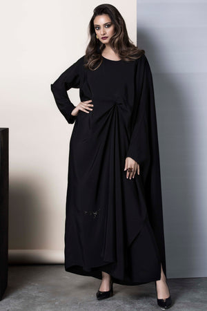 BLACK SUN-RAY PLEAT SOALON ABAYA.