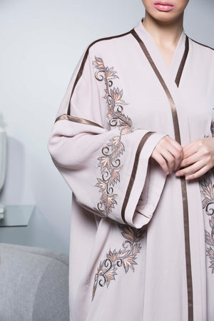 PEACH FLORAL EMBROIDERED SATIN-CREPE OPEN ABAYA.