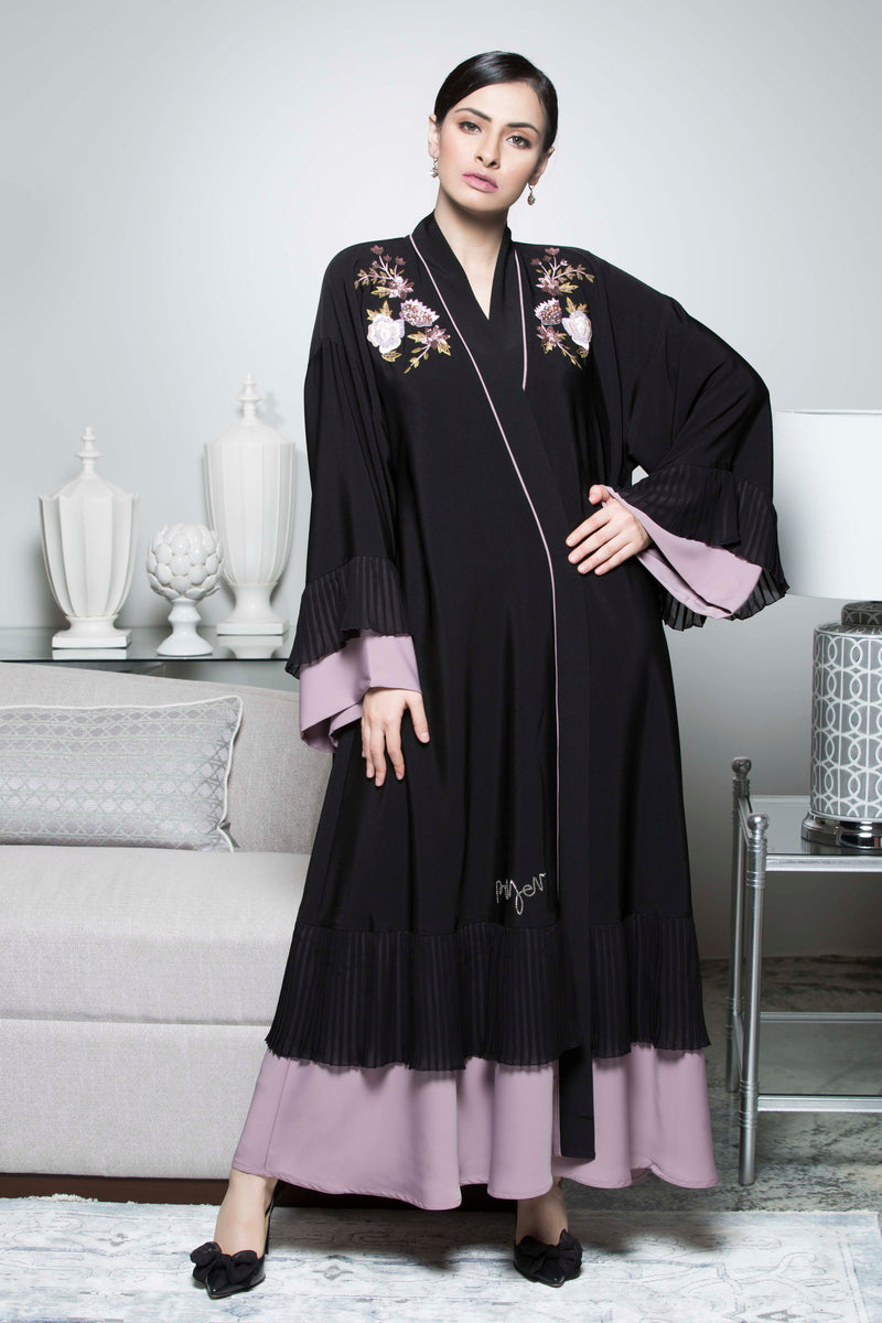 BLACK FLOWER BEADS OPEN CLOCHE ABAYA.