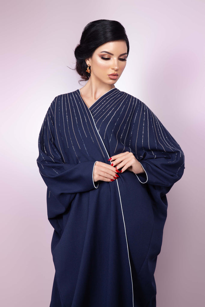 NAVY BLUE SWAROVSKI CRYSTALIZED OPEN BUTTERFLY DESIGN ABAYA.