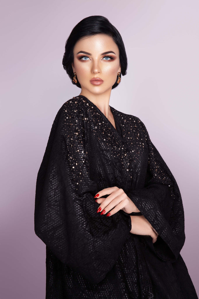BLACK SWAROVSKI CRYSTALIZED JACQUARD OPEN ABAYA