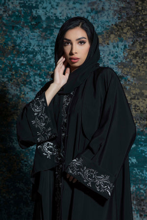 BLACK TRIPLE CLOCHE EMBROIDERED ABAYA.