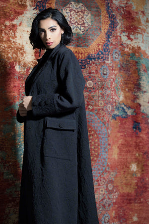 BLACK JACQUARD TRANCH COAT OPEN ABAYA.