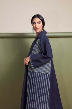 NAVY BLUE FRENCH JACQUARD OPEN ABAYA.