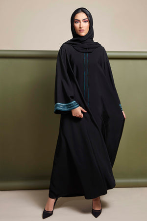BLACK EMBROIDERED TURQUOISE SALOAN ABAYA.