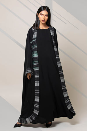 DARK GREY STRIPED ROUNDED TROUSER OPEN ABAYA
