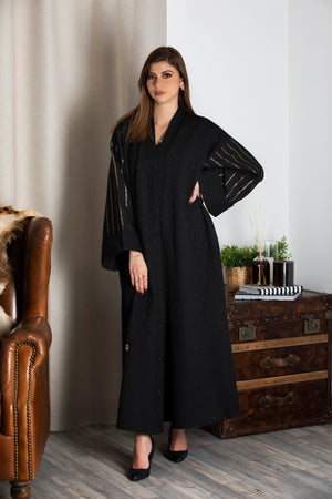 BLACK FRENCH JACQUARD OPEN BISHT ABAYA.