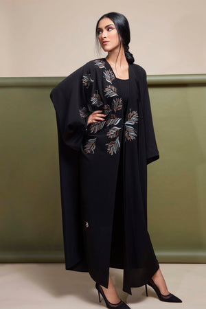 BLACK LEAF EMBROIDERED SOALAN OPEN ABAYA.