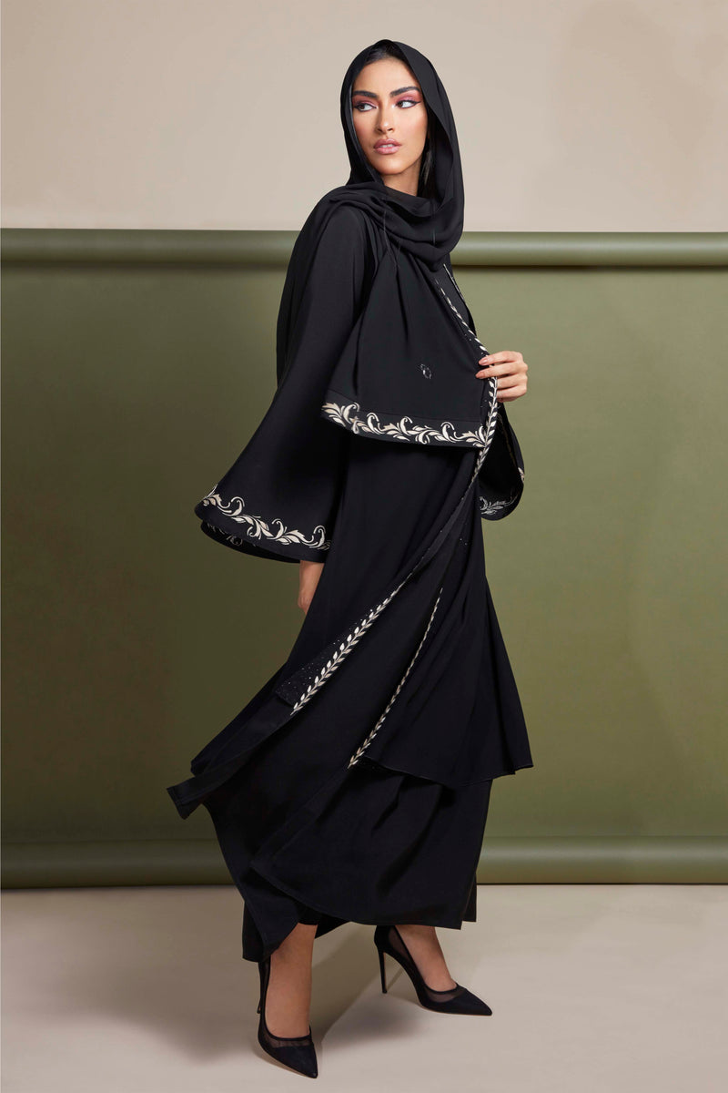 BLACK WITH GOLD EMBROIDERED DOUBLE LAYERED OPEN ABAYA.