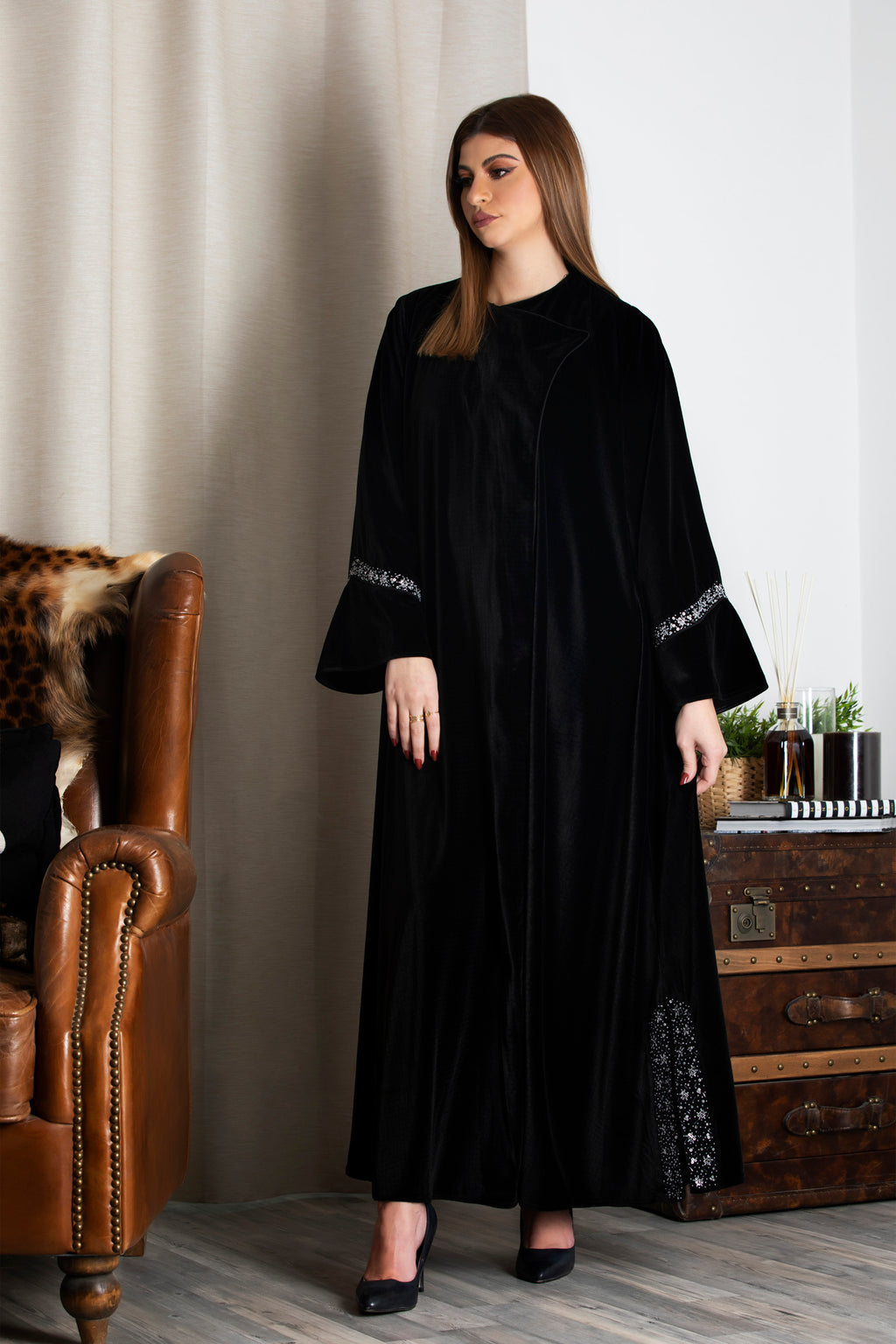 BLACK  VELVET SEQUINS EMBRODERD ABAYA