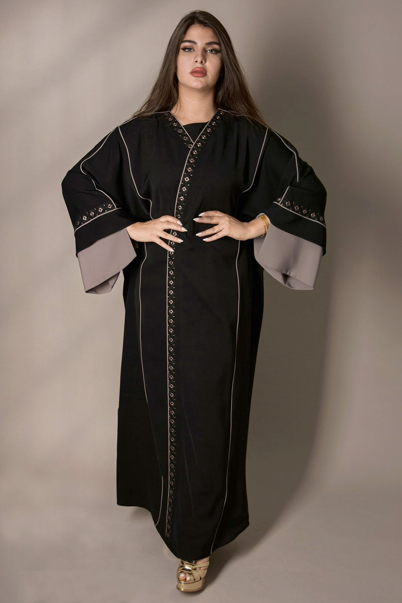 BLACK EMBROIDERED CUT SLEEVES DESIGN ABAYA.