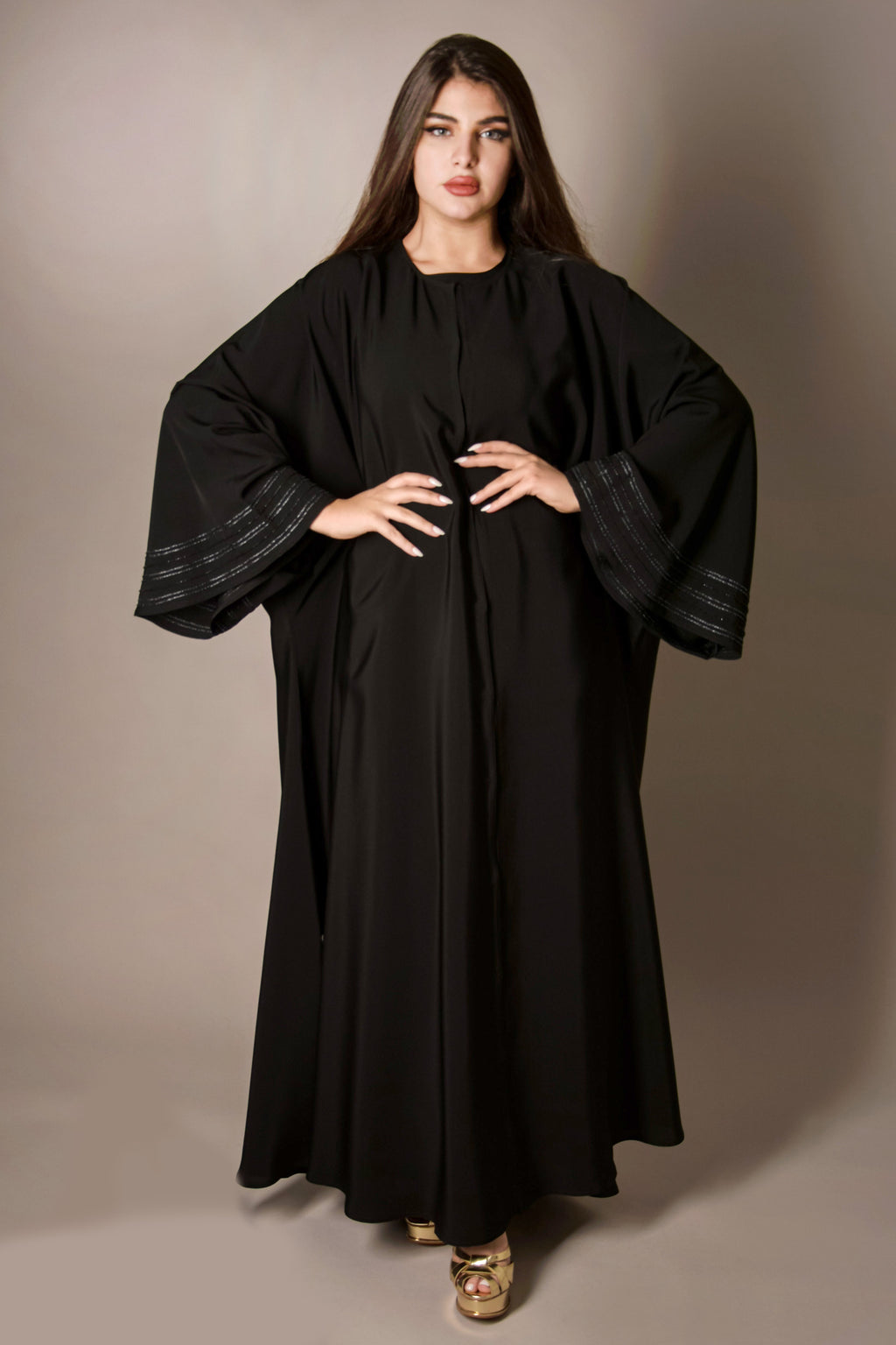 BLACK PATTERNED HAND EMBROIDERED SEQUINS ABAYA.